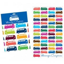 Elgate Multi Coloured VW Campervan Tea Towel