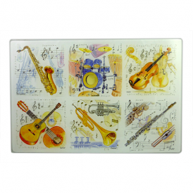 Little Snoring Music Instrument Glass Kitchen Board