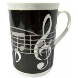 Music Gifts Company Music Notes Black Bone China Mug