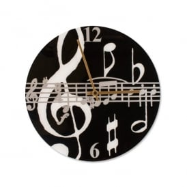 Music Gifts Company Music Notes Black Round Wall Clock