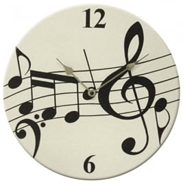 Music Gifts Company Music Notes White Round Wall Clock
