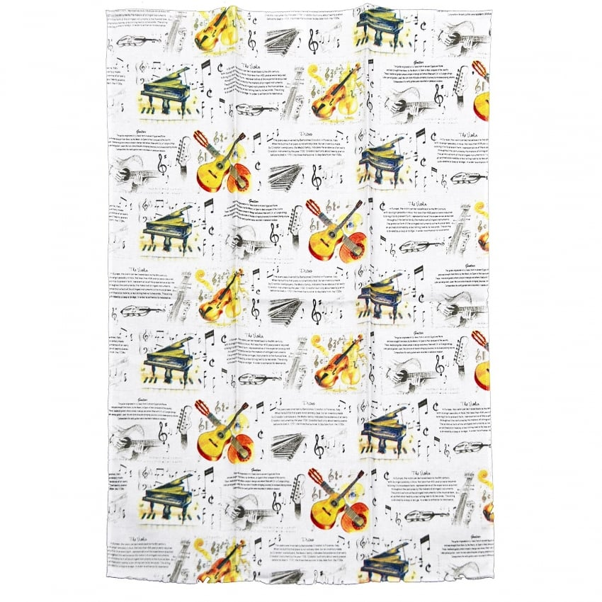 Little Snoring Musical Instruments Tea Towel