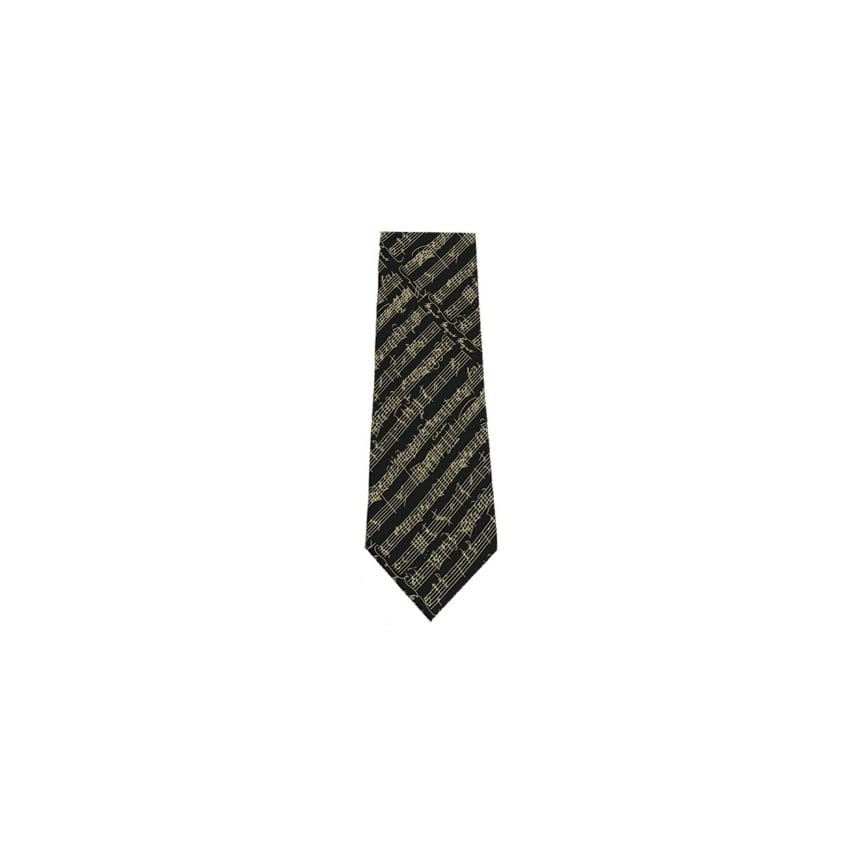 Music Gifts Company Musical Notes Black Silk Tie