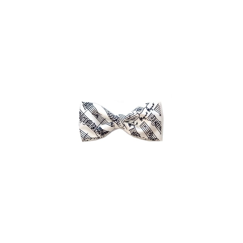 Music Gifts Company Musical Notes White Silk Bow Tie