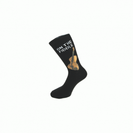 Music Gifts Company On The Fiddle Socks in Black - Pair