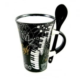 Little Snoring Piano Cappuccino Mug with Spoon
