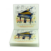 Little Snoring Piano Glass Coaster Set of 4