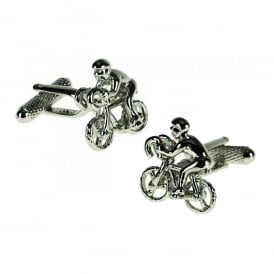Onyx-Art Racing Cyclist Cufflinks