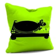 House Of Cushions Record Deck on Green Filled Cushion