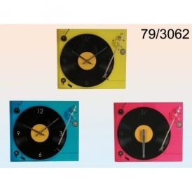 Out Of The Blue Record Player Glass Wall Clock - Crimson