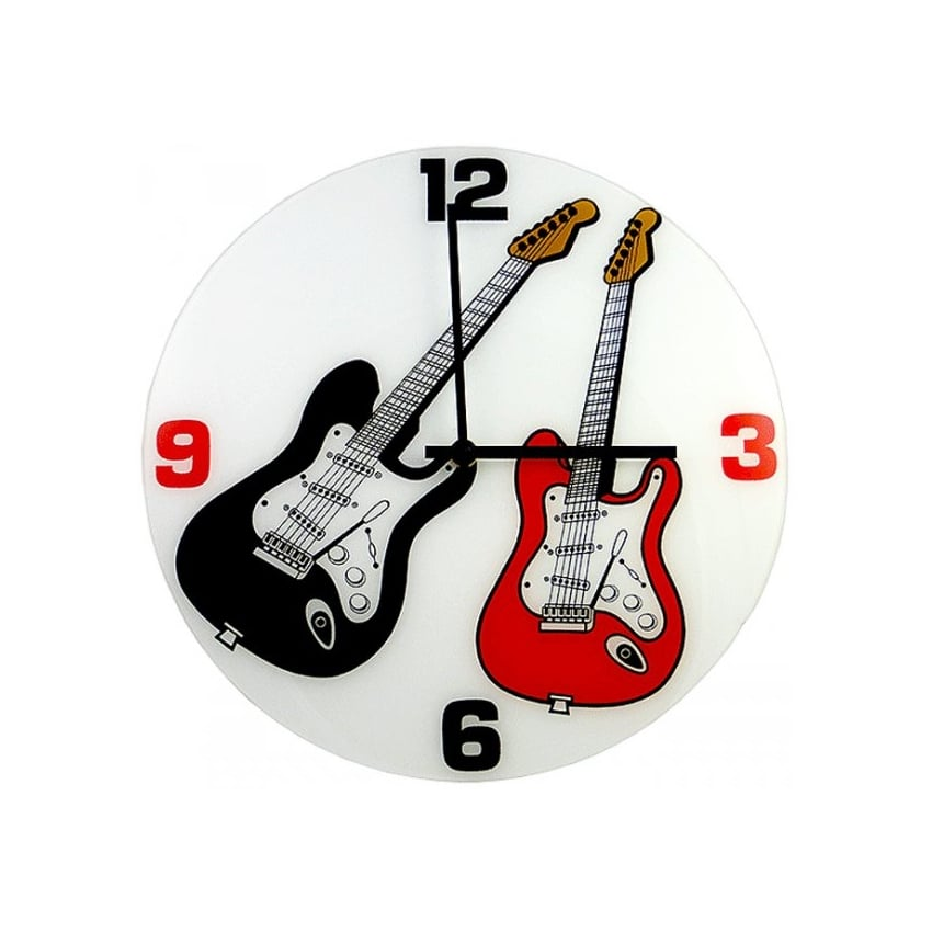Music Gifts Company Red and Black Electric Guitars Round Wall Clock