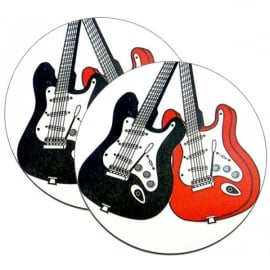 Music Gifts Company Red & Black Electric Guitars Mug Coasters - Twin pack