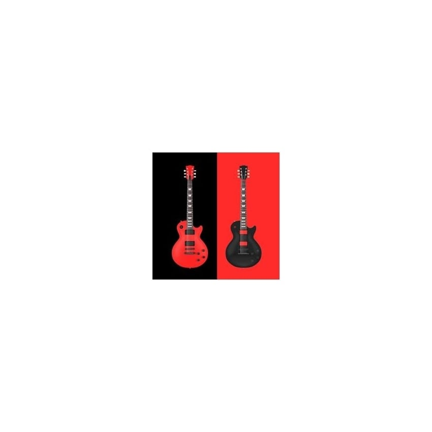 art2glass Red & Black Guitar Glass Coaster Single in Box