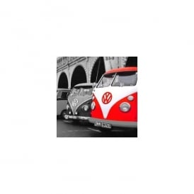 art2glass Red on Greyscale Campervan Glass Coaster Single in Box