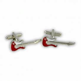 Onyx-Art Red & Silver Guitar Cufflinks
