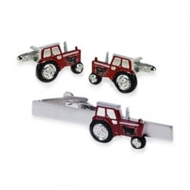 Onyx-Art Red Tractor Cufflinks and Tie Bar Set
