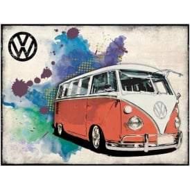 Brisa Red VW Camper Grunge Metal Sign