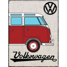 Brisa Red VW Campervan Hessian Outline Metal