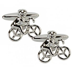 Harvey Makin Rhodium Plated Cyclist Cufflinks