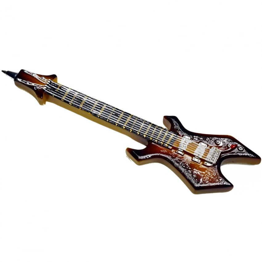 Puckator Rock Guitar Pen - Brown Jagged