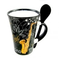 Little Snoring Saxophone Cappuccino Mug with Spoon