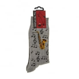 Tie studio Saxophone Socks in Grey