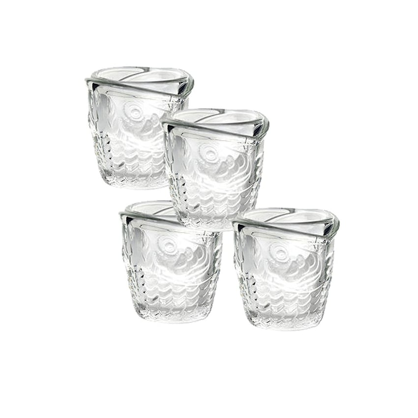 Kikkerland Set of 4 Fish Patterned Shot Glasses