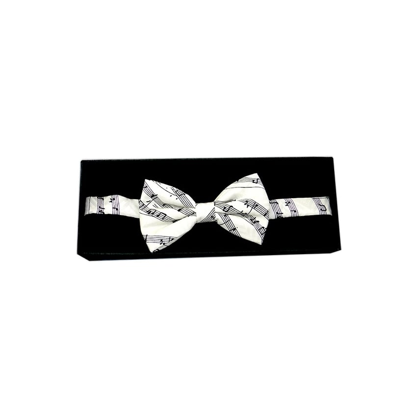 Tie studio Sheet Music Silk White Bow Tie