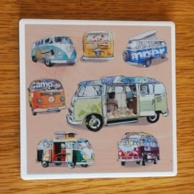 Julia Hook Designs Sport Hobby Campervan Ceramic Coaster Single