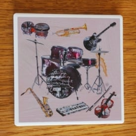 Julia Hook Designs Sport Hobby Drums Ceramic Coaster Single