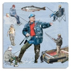 Julia Hook Designs Sport Hobby Fisherman Ceramic Coaster Single