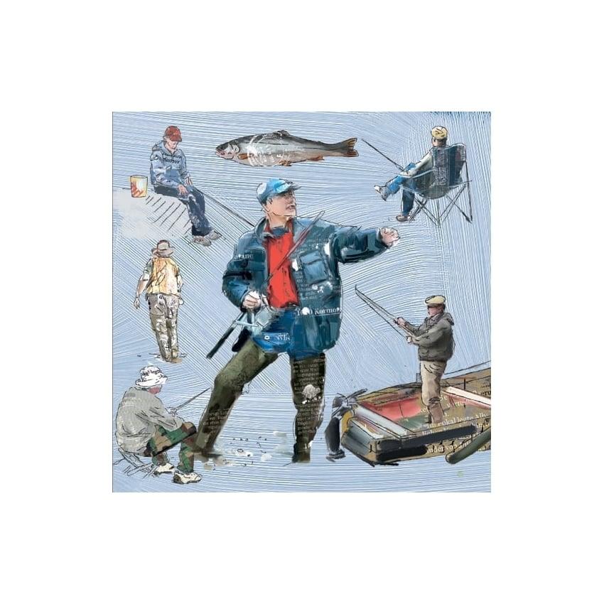 Julia Hook Designs Sport Hobby Fisherman Greeting Card