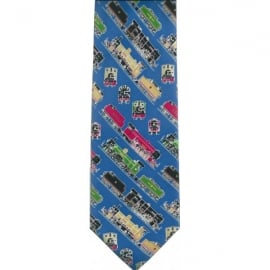 Tie studio Steam Trains Blue Silk Tie