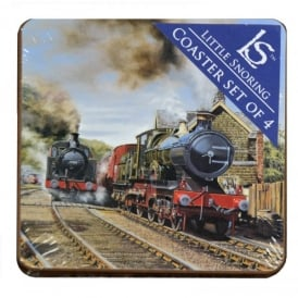 Little Snoring Steam Trains Coasters Set of 4