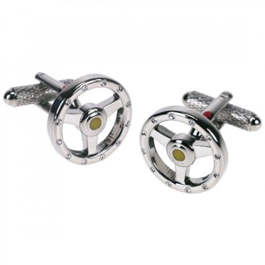 Onyx-Art Steering Wheels with Crystals Cufflinks
