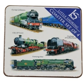 Little Snoring Trains Montage Coasters Set of 4