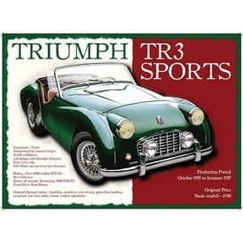 Original Metal Sign Company Triumph TR3 Sports Tin Sign
