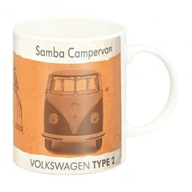 Brisa Vintage Orange VW Campervan Mug