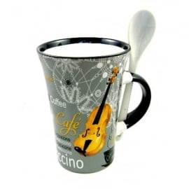 Little Snoring Violin Cappuccino Mug with Spoon