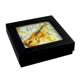 Little Snoring Violin Glass Coaster Set of 4