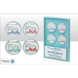 Elgate VW Getting There is Half The Fun Glass Fridge Magnet Set of 4