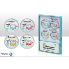 Elgate VW Home Is Where You Park It Glass Fridge Magnet Set of 4