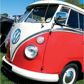 Salmon Art VW Red Split Campervan Greeting Cards - Pack of 6