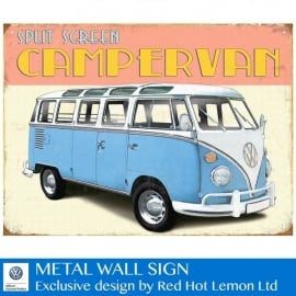 Red Hot Lemon VW Retro Camper Metal Sign