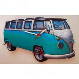 Lark Designs VW Samba Blue Cut Out Wall Clock