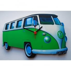 Lark Designs VW Split Screen Green Cut Out Wall Clock