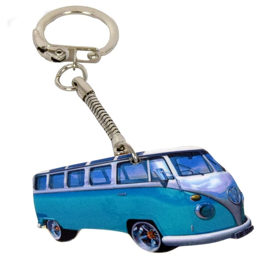 Lark Designs VW Split Screen Mid Blue Cut Out Keyring