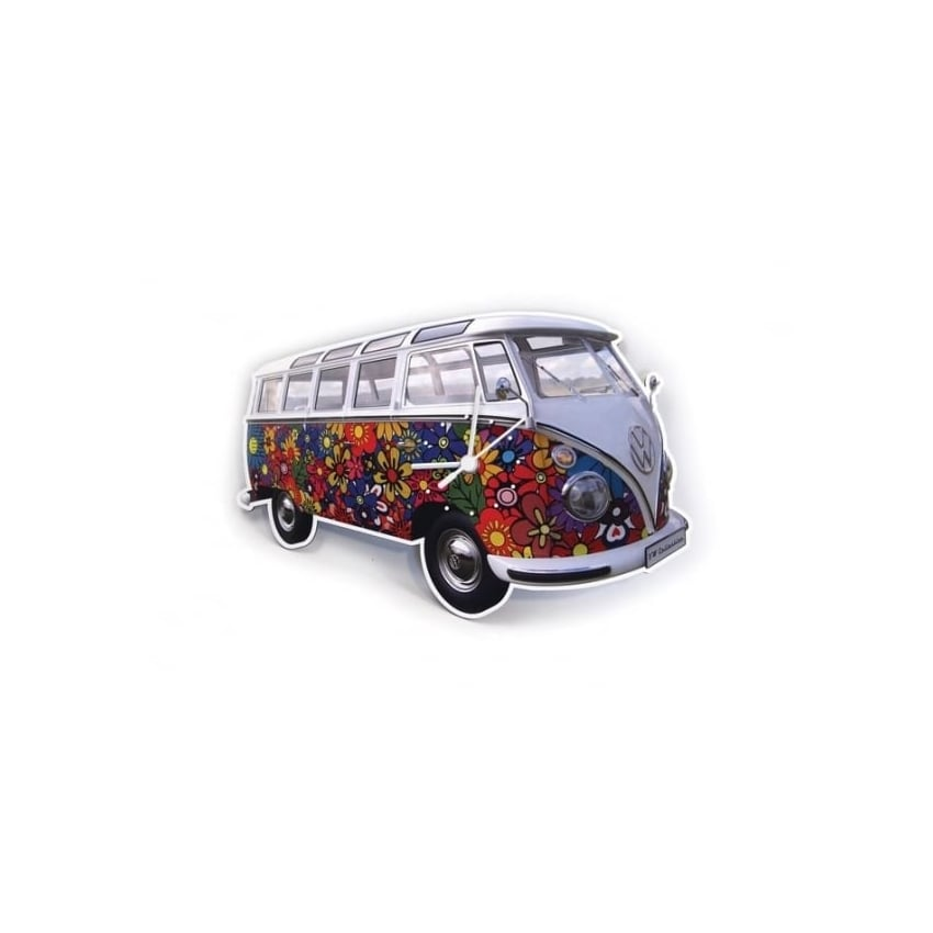 Brisa VW T1 Wall Clock - Flower Power