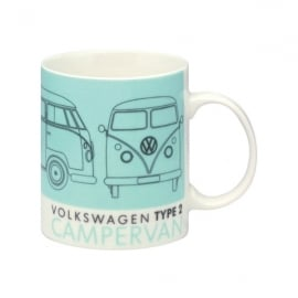 Elgate VW T2 Technical Drawing Green Campervan Mug