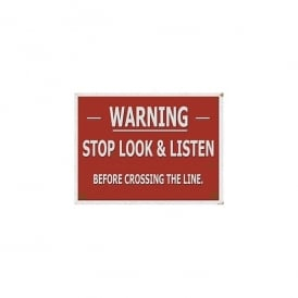 Original Metal Sign Company Warning - Stop Look and Listen Metal Sign